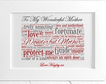 Personalised Mum Framed Word Art - Wonderful Mother