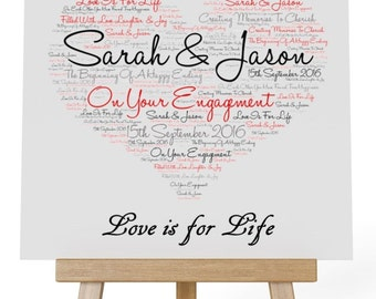 Personalised Love Word Art Wooden Plaque & Wooden Easel Stand -  Your Engagement