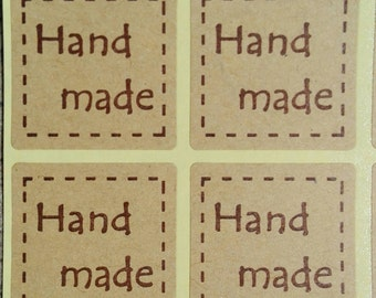 "40 Stickers Labels square with the word ""Handmade"" Brown 25mm Gift Tag"