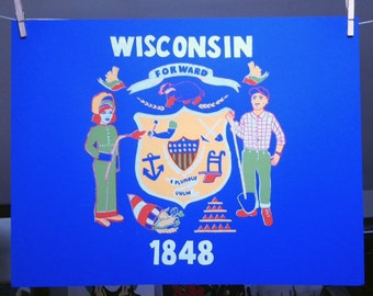 Forward Wisconsin! Screen Print // Hand Printed Poster // Wisconsin Crest // Second Edition BLUE CARDSTOCK