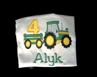 Personlized Tractor and Trailer Birthday Shirt