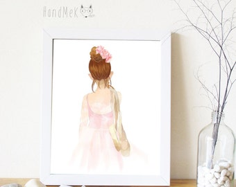 Ballerina Art Printable ,Girl Art Printable, Digital Art Printable, Instant Download Art