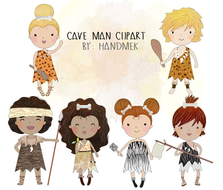 Cave man Clipart Stone Age Clip Art Instant Download PNG file