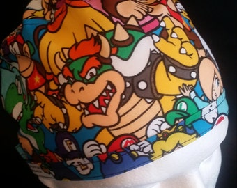 Mario Brothers Nintendo Character Packed Tie Back Surgical Scrub Hat