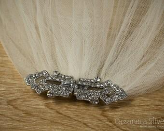 Art Deco Inspired Crystal Wedding Veil (Cathedral, Chapel, Finger Tip, Elbow, Waltz, White, Diamond White, Ivory Illusion Tulle Bridal Veil)