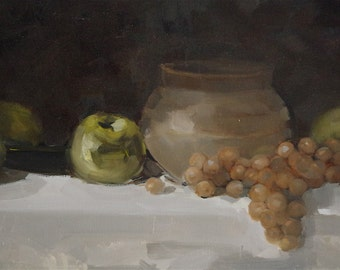 Still life with Jug, Paintings for Kitchen, oil Painting, One of a kind, Handmade, Classic art,  Signed with Certificate of Authenticity