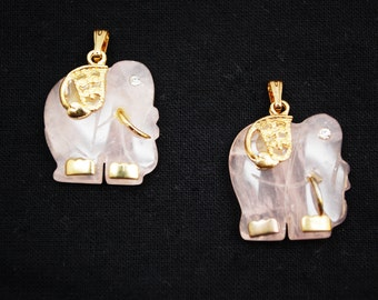 Gemstone  Elephant Pendant- 2 pc