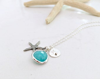 925 sterling Silver Starfish Necklace Mint Necklace Sand dollar Starfish Jewelry Mint blue Jewelry Beach Weddings Bridesmaids Gift Sets