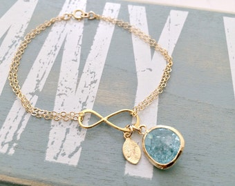 Aquamarine Bracelet Aquamarine Jewelry March Birthstone Monogram Initial Bracelet Gold letter bracelet Aquamarine Bracelet Monogram jewelry