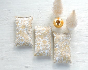 Metallic Gold and White Lavender or Balsam Sachets Set of 3, Organic Lavender, Lavender Pillows, Natural Aroma Therapy