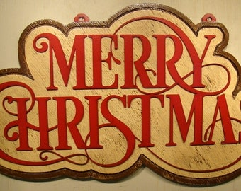 Merry Christmas Wood Sign - Vintage Sign - Rustic Sign - Shabby Chic Sign - Red and Cream - Christmas