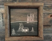 Rustic Home Decor, Hand Engraved Wood, Cabin Country, Primitive, Landscape, Fall, Black, Brown, Autumn, Wall Art, Shelf Mantle, Trees, Gift