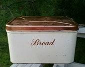 Copper Tone & Cream Decoware Metal Bread Box