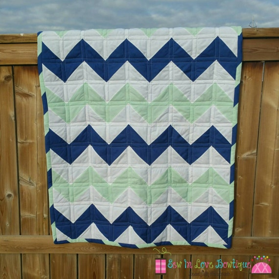 Royal Blue And Mint Chevron Baby Quilt
