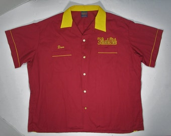 Vintage Hilton Bowling Shirt Florida State 70s 80s league 2XL 3XL maroon yellow FSU soft thin Dave name university college