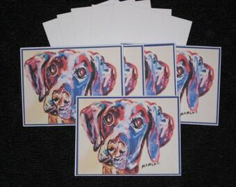Blue Weimaraner Note Cards