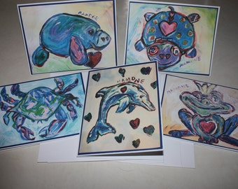 Whimsical Sealife Animal Note Cards