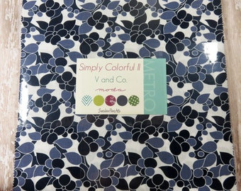 "Simply Colorful II - Vanessa Christenson - V and Co - Moda - 20 Pieces - 10"" Squares - Junior Layer Cake Blue - 10850JLCB"