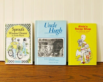 Vintage Boys Books Sprouts Window Cleaner, Uncle Hugh, Alvin's Swap Shop Weekly Reader Young Readers Chapter Book Elementary Reader