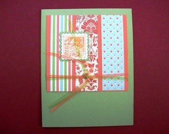 Greeting card with a 3 cent stamp - Blank Inside, Note Card, Stationery, Stampin Up Card
