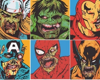 Marvel Zombies Vintage 24 x 36- Giclee Print of Original Painting