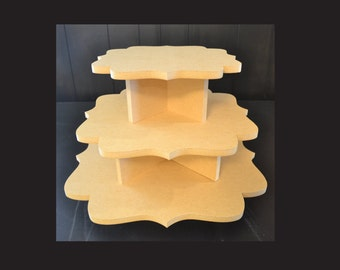 3 tier unpainted cupcake stand, cupcake holders, cupcake tower, cupcake stand, wedding cake stand, cupcake tower, F-11,14,17