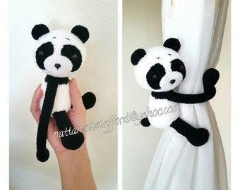 1 Panda curtain tie back.  Crochet tie back.  MADE TO ORDER***