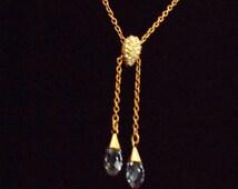 Summer Sale! SWAROVSKI signed Gold Lariat Crystal Necklace..Swarovski Gold Pave Set Crystal Slide Lariat Necklace.Swarovski Crystal Necklace