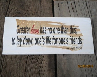 Hand painted sign, Military sign, Americana sign, Inspirational sign, Bible quote sign