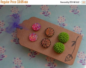 50% OFF Summer SALE 3 pairs Resin Flowers, Druzy Cabochon Earrings item no. 3p2