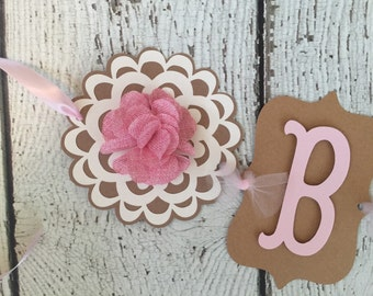 Shabby Chic Baby Shower Banner, Girl Baby Shower Decoration