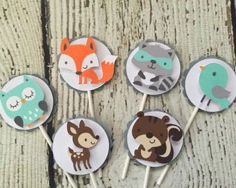 12 Woodland Cupcake Toppers in Mint, Grey and White, Forest Friends Cupcake Toppers