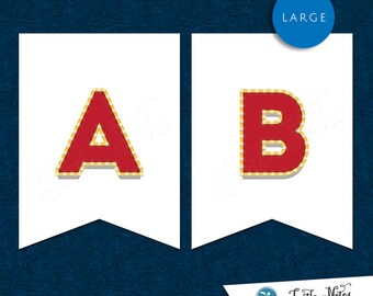 Large Red & White Movie Marquee Themed Banner  :  Printable Banner All Letters 0-9 numbers