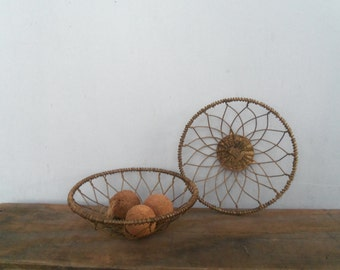 Small Vintage Wire Basket Pair