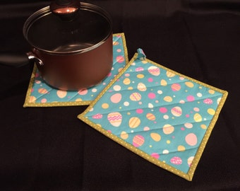 Easter Egg Quilted, Insulated Pot Holder Set