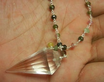 Crystal Pendulum Necklace With Sterling Silver Multi Tourmaline Beaded Chain