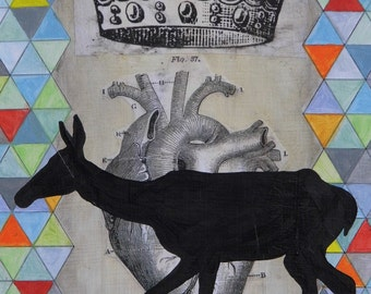 Light and Dark - mixed media, collage, deer, vintage anatomy, heart