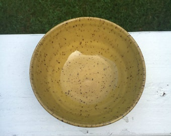 Yellow pottery bowl, ceramic bowl, yellow bowl, handmade bowl, puppy bowl, mustard bowl, handmade pottery bowl, dog bowl, cat bowl, pottery