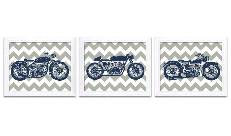 Motorcycle Nursery Art Nursery Wall Decor Transportation Set of 3 Prints Navy Blue Grey Chevron Nurs