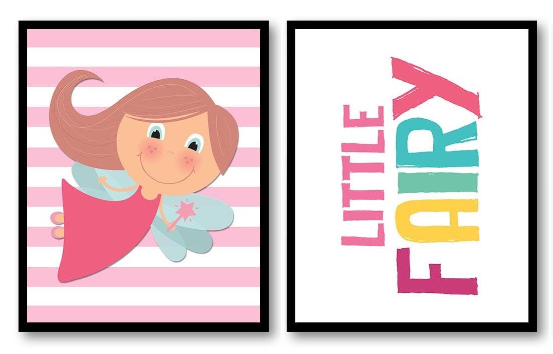 Pink Little Fairy Nursery Art Nursery Print Set of 2 Art Prints Fairies Fairy Tale Girl Child Kids R