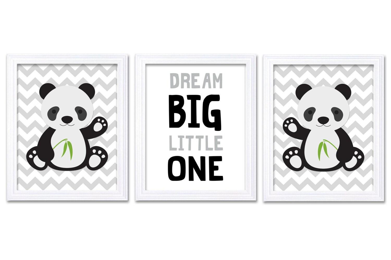 Panda Nursery Art Set of 3 Print Black Grey Gray Dream Big Little One Child Kid Room Nursery Wall De