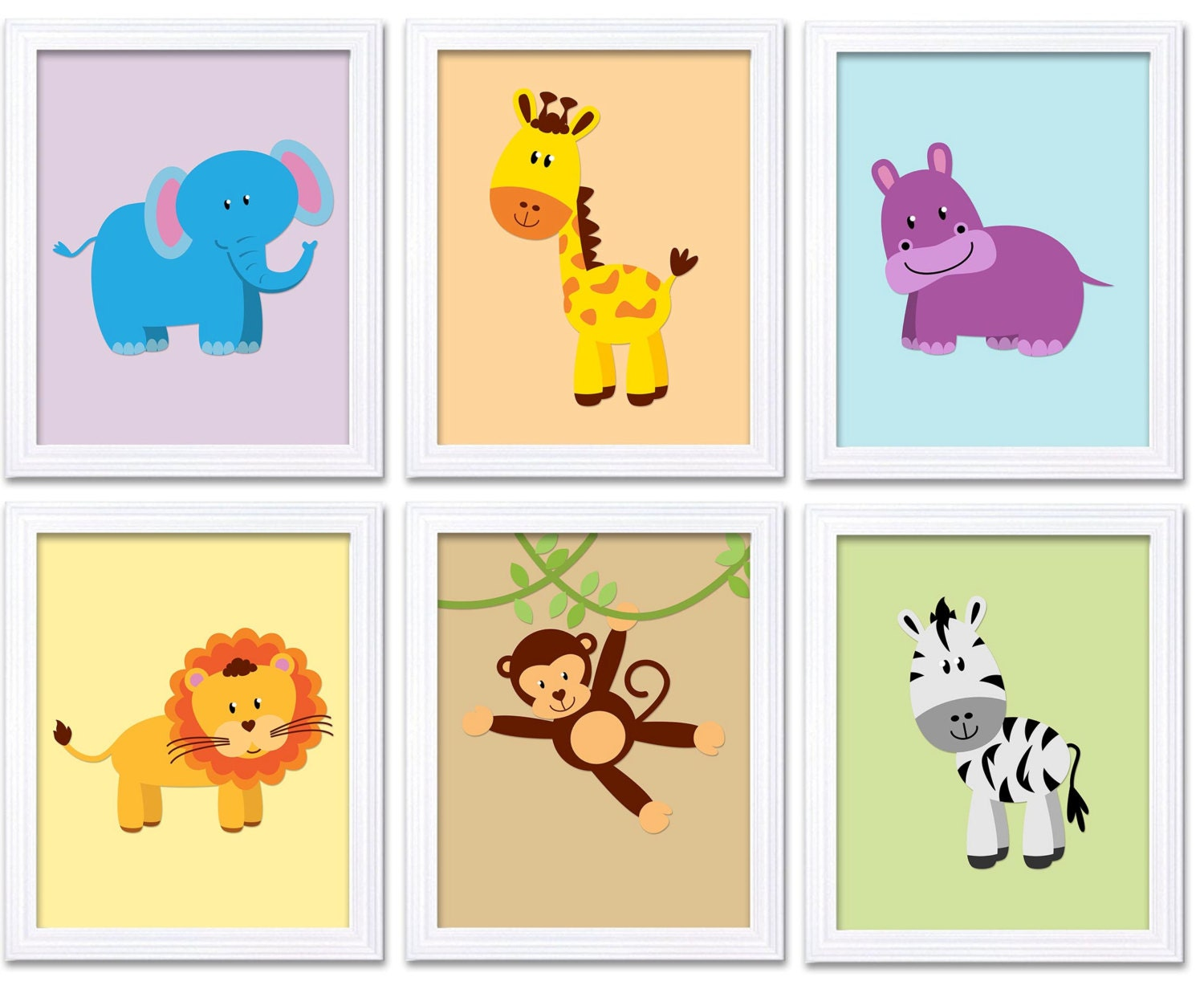Colorful Africa Animals Jungle Nursery Art Set of 6 Prints Baby Wall Art Decor Kid Children Bedroom