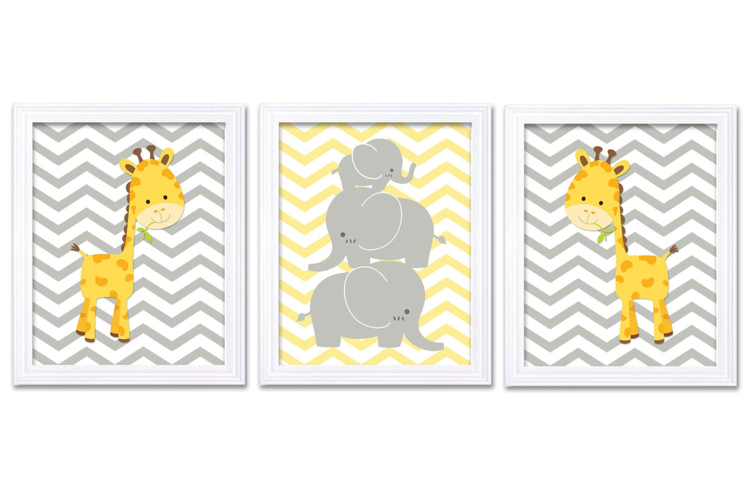 Giraffe Elephant Nursery Wall Decor Set of 3 Prints Yellow Grey Nursery Art Chevron Child Kids Baby