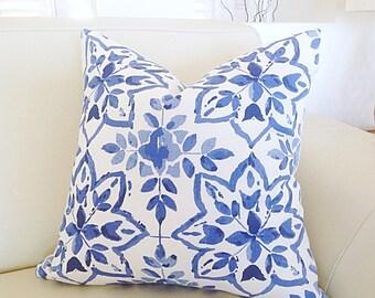 Blue and White Hamptons Style Pillows, Cushion Cover, Porcelain Blue Hampton's Style Pillows, Decorative Pillows Coastal