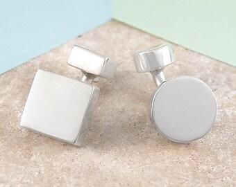 Silver Cufflinks, Round Cufflinks, Square Cufflinks, Father's Day Gift, Handmade Cufflinks, Men's Cufflinks, Sterling Silver, Mens Gift, 925