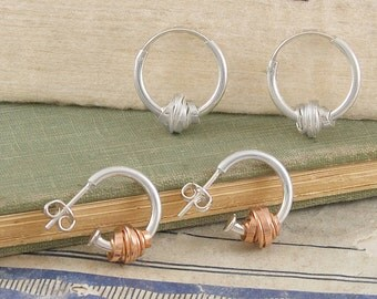 Coiled Wire Earrings, Silver Hoop Earrings, Rose Gold Hoops, Sterling Silver, Wire Wrapped Earrings, Silver Hoops, Earrings, Wire Wrap, 925