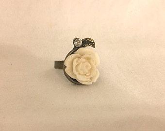 Hunger Games Inspired White Rose Ring