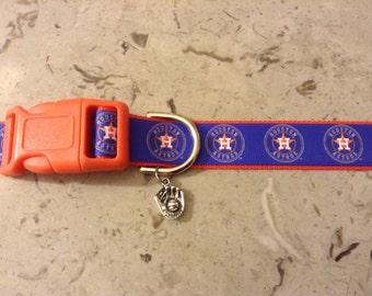 Houston Astros  Baseball MLB Team Inspired  Adjustable dog collar with a Baseball charm
