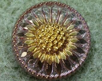 """Czech Glass Button 10""""= 23mm - hand painted - daisy, pink, gold (B23270)"""
