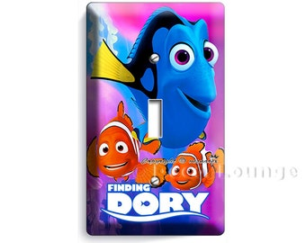 colorful finding Dory Marlin Nemo clown fish single light switch wall plate cover game play tv room girls boys bedroom decoration home decor